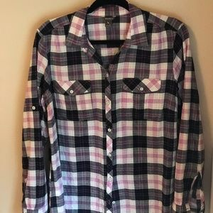 Eddie Bauer Plaid Camp Shirt Size XL